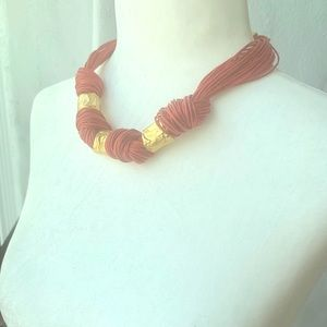 Red leather necklace with Gold Links